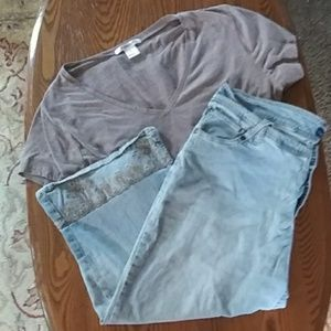 Summer outfit women's 18 stretchy capris Avenue